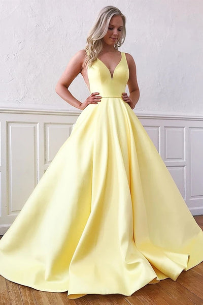 A Line V Neck Yellow Satin Long Prom Dress with Pockets, V Neck Yellow Formal Graduation Evening Dress