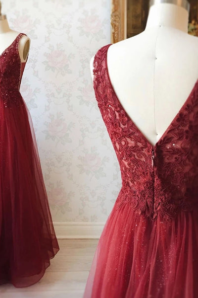 A Line V Neck and V Back Long Beading Lace Burgundy Prom Dress, Lace Burgundy Formal Graduation Evening Dress