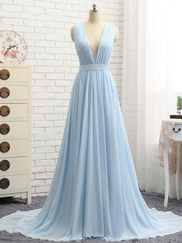 A Line V Neck and V Back Sky Blue Chiffon Long Prom Dresses, V Neck Blue Formal Dresses, Blue Evening Dresses
