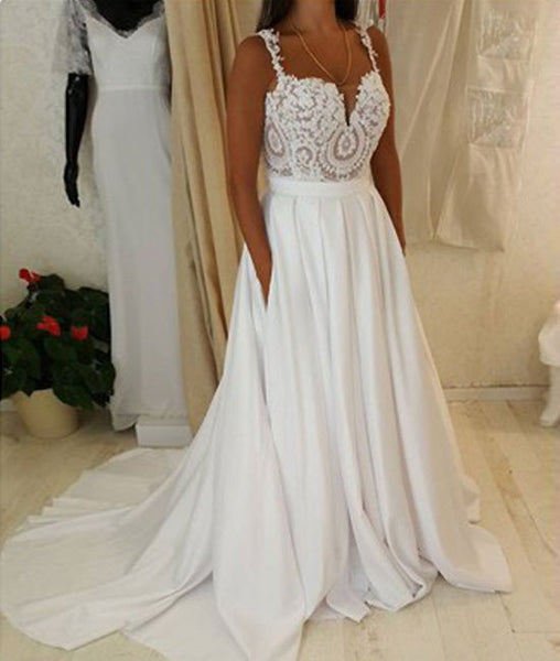 Attractive Spaghetti Straps Sweetheart Neck White Lace Wedding Dresses, White Lace Prom Dresses