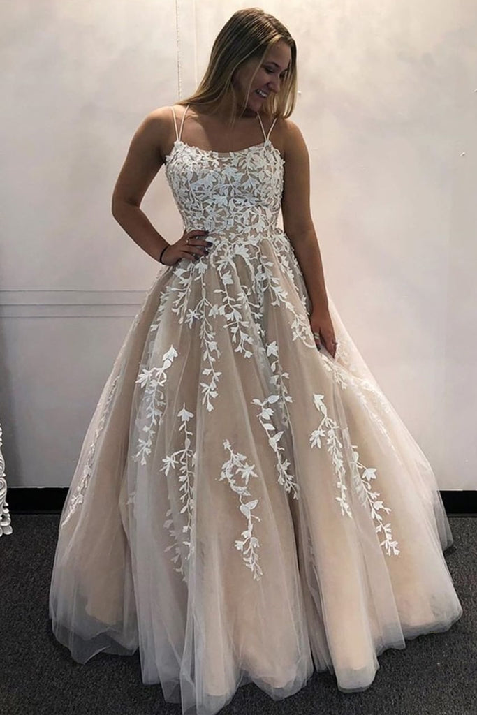 Backless Champagne Lace Long Prom Dresses, Champagne Lace Formal Evening Dresses, Champagne Ball Gown