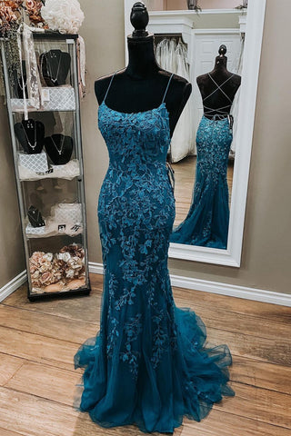 Backless Mermaid Dark Teal Lace Long Prom Dress, Mermaid Teal Lace Long Formal Evening Dress