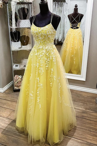Backless Yellow Lace Long Prom Dress, Long Yellow Lace Formal Dress, Yellow Evening Dress