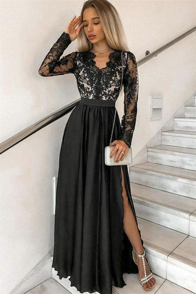 Black Long Sleeves V Neck Lace Prom Dress with Slit, Long Sleeves Black Formal Dress, Black Lace Evening Dress