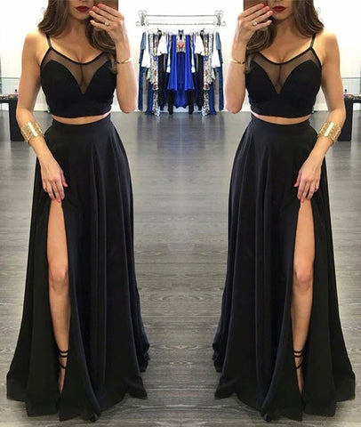 Black Two-pieces Prom Dresses, A-line Long Prom Dresses, Evening Dresses