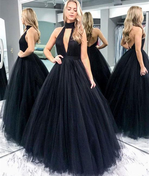 Black V Neck Backless Tulle Long Prom Dress, Black Backless Formal Dress, Black Evening Dress, Ball Gown