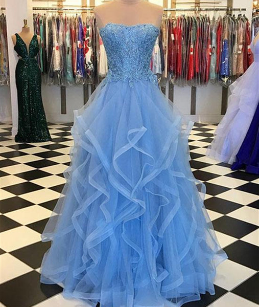 Blue Lace Tulle Long Prom Dresses, Blue Lace Ball Gown, Blue Lace Formal Dresses, Evening Dresses