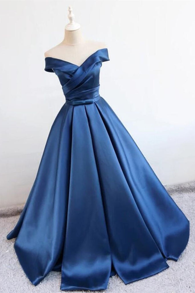 party wear off shoulder blue gown