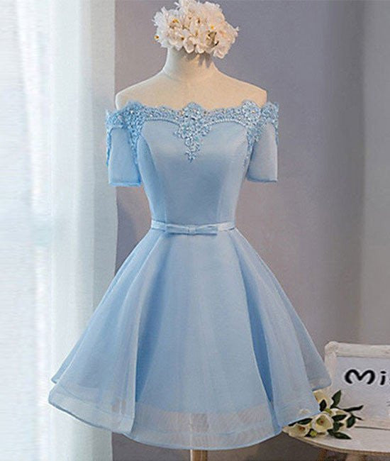 Blue Short Sleeves Lace-up Organza Bow Prom Dresses, Homecoming Dresses