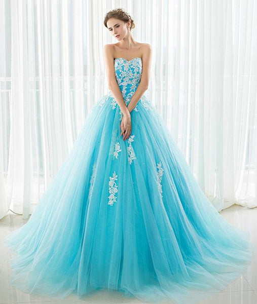 Blue Sweetheart Neck Lace Tulle Long Prom Dress with White Appliques, Blue Ball Gown, Blue Lace Formal Evening Dress
