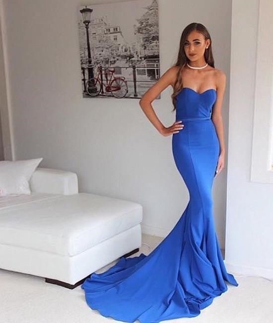 Blue Sweetheart Neck Mermaid Satin Long Prom Dress with Train, Blue Formal Dress, Blue Graduation Dress