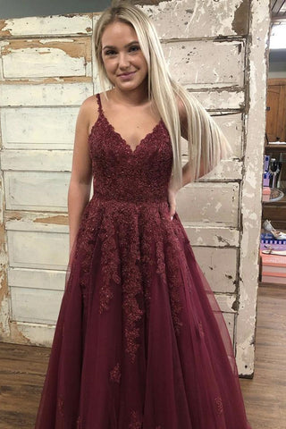 Burgundy V Neck Backless Lace Long Prom Dress, Burgundy Lace Long Formal Graduation Evening Dress