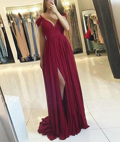 Burgundy A Line Off Shoulder Chiffon Long Prom Dresses with Slit, Off Shoulder Burgundy Formal Evening Graduation Dresses, Burgundy Bridesmaid Dresses