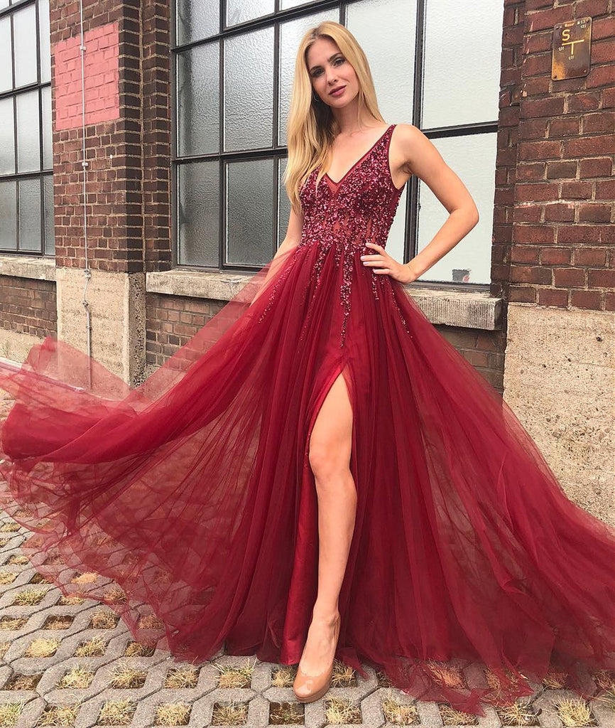 Burgundy A Line V Neck Backless Tulle Beaded Long Prom Dress with Leg Slit, Burgundy Formal Dress, Burgundy Evening Dress
