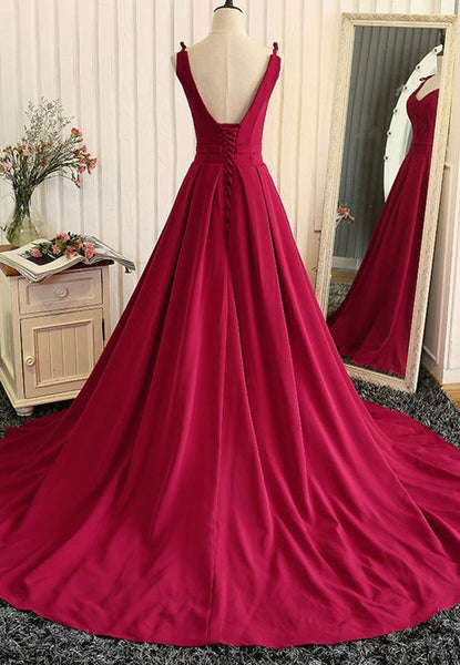 Burgundy A Line V Neck Sweep Train Open Back Satin Long Prom Dress, V Neck Burgundy Formal Dress, Evening Dress
