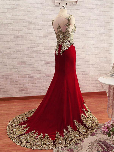 Burgundy Mermaid Beads Lace Appliques Chiffon Long Prom Dress, Burgundy Mermaid Formal Dress, Evening Dress