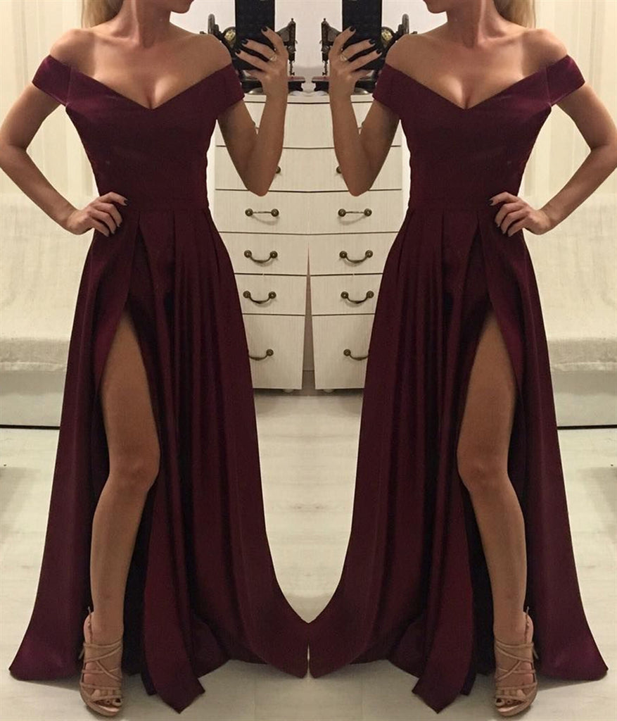Burgundy Off Shoulder Satin Long Prom Dress with High Slit, Off Shoulder Burgundy Long Evening Dress, Formal Dress