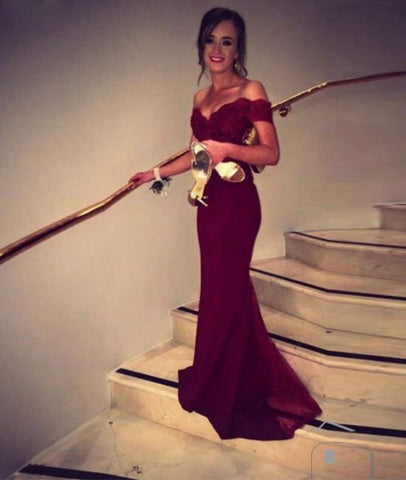 Burgundy Off Shoulder Sweep Train Mermaid Prom Dresses with Lace Top, Formal Dresses