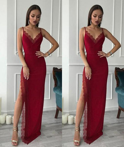 Burgundy Spaghetti Straps Lace Long Prom Dresses with Side High Slit, Burgundy Graduation Dresses, Burgundy Formal Evening Dresses