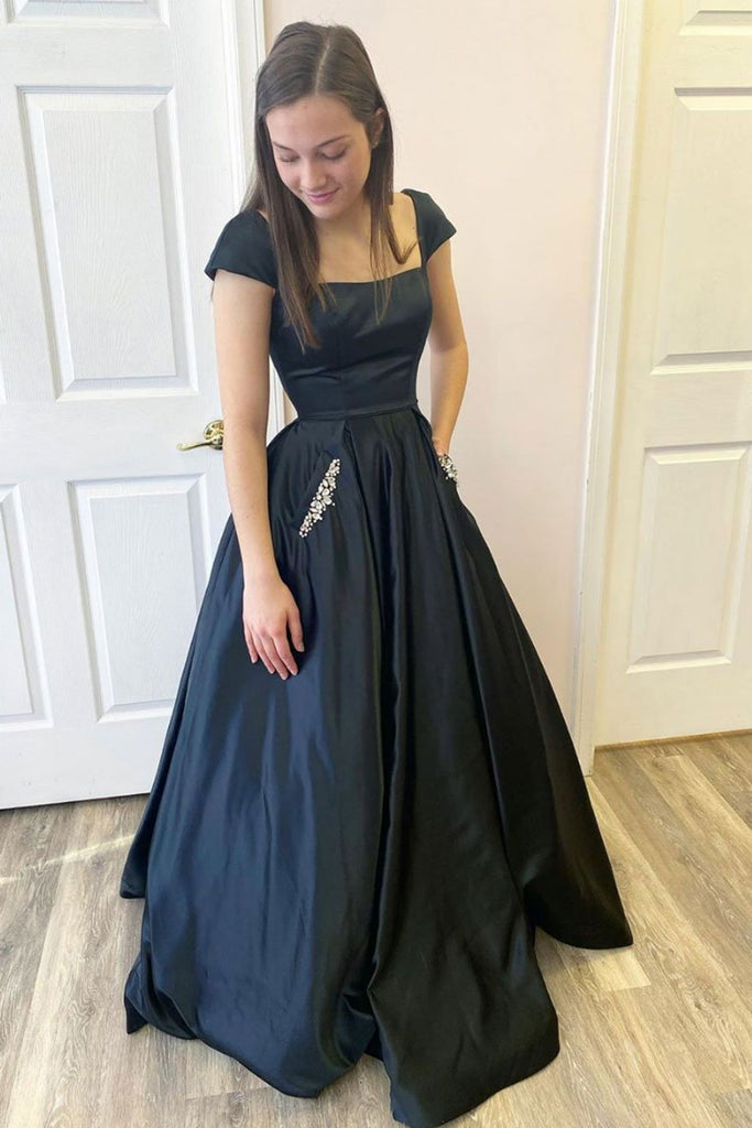 Cap Sleeves Open Back Black Satin Long Prom Dress with Pocket, Backless Black Formal Graduation Evening Dress