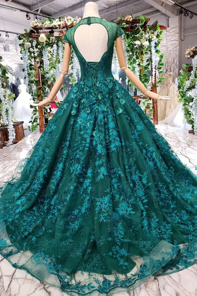 Cap Sleeves Round Neck Open Back Green Lace Prom Dress, Cap Sleeves Green Lace Formal Dress, Green Lace Evening Dress
