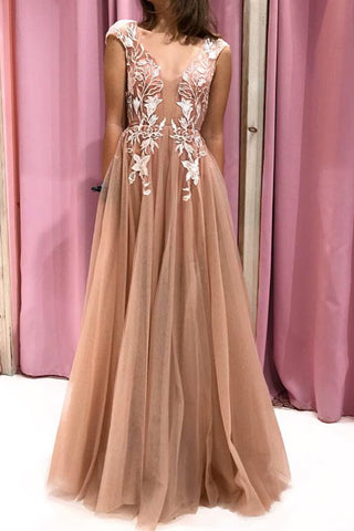 Cap Sleeves V Neck Open Back Champagne Lace Long Prom Dress, Champagne Lace Formal Evening Dress