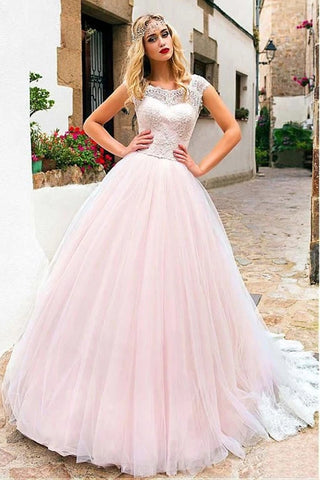 Cap Sleeves Lace Pink Tulle Long Prom Dress, Pink Lace Formal Evening Dress, Pink Sweet 16 Dress