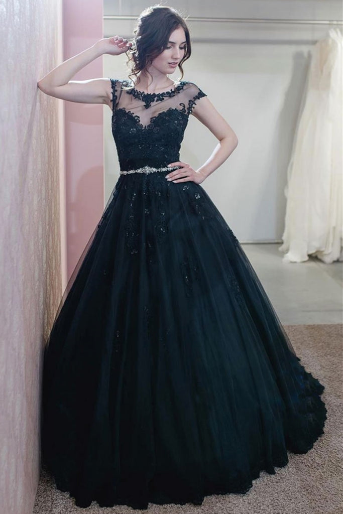 Cap Sleeves Round Neck Navy Blue Lace Long Prom Dress, Navy Blue Lace Formal Graduation Evening Dress, Lace Ball Gown