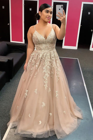 Champagne Tulle V Neck Long Lace Floral Prom Dress, Champagne Lace Floral Formal Dress, Champagne Evening Dress