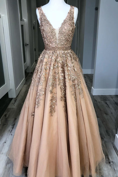 Champagne V Neck Lace Tulle Long Prom Dresses, Champagne Lace Formal Dresses, Champagne Evening Dresses