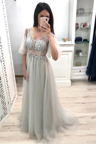 Charming A Line V Neck Beaded Grey Tulle Long Prom Dress, V Neck Grey Formal Graduation Evening Dress with Beadings