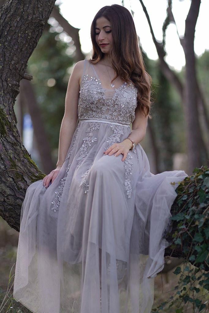 Charming Light Gray Lace V Neck Long Prom Dress, Light Gray Lace Formal Graduation Evening Dress
