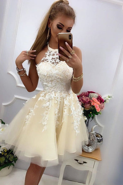 Charming Round Neck Short Yellow Lace Prom Dress, Yellow Lace Formal Graduation Homecoming Dress