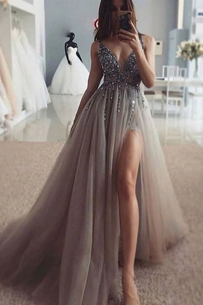 Charming V Neck Silver Gray Beaded Long Prom Dress with High Split, Silver Gray Formal Evening Dress with Beading