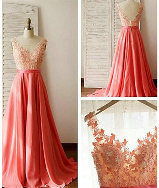 Charming A-Line Appliques V-Neck Long Prom Dresses, Long Formal Dresses