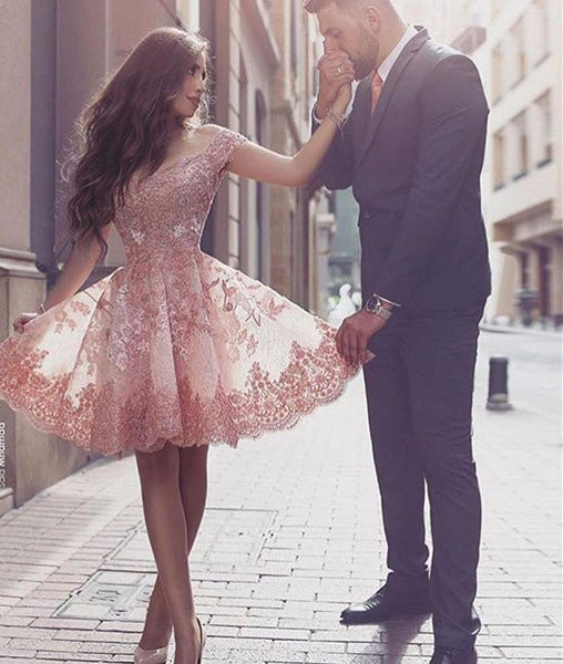 Charming A Line Off Shoulder Lace Short Pink Prom Dresses, Pink Homecoming Dresses