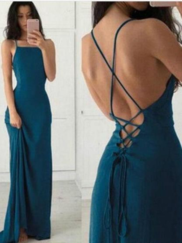 Cheap Prom Dresses Sheath Spaghetti Straps Long Prom Dresses Sexy Evening Dresses Backless Formal Dresses
