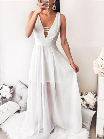 Chic A Line V Neck Floor Length Ivory Long Prom Dresses, Ivory V Neck Formal Graduation Evening Dresses