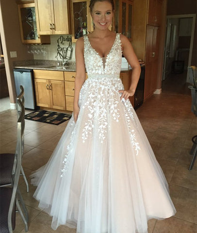 Custom Made A-Line V-Neck Lace Prom Dresses, Lace Tulle Formal Dresses, Evening Dresses