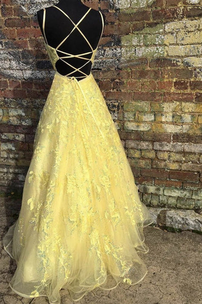 Custom Made Backless Yellow Lace Floral Long Prom Dress, Yellow Lace Formal Graduation Evening Dress