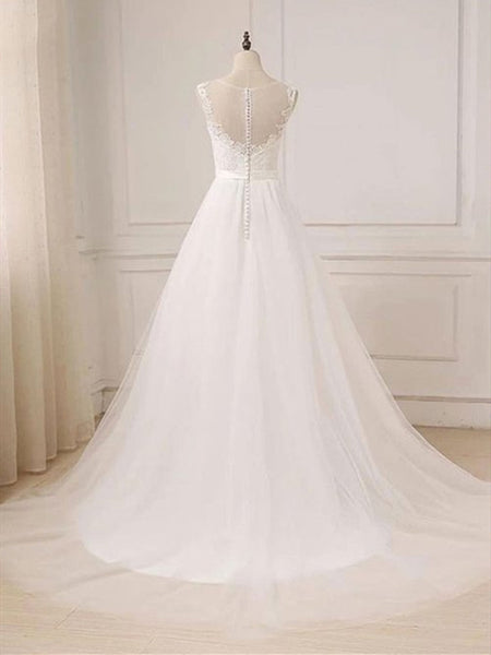 Custom A Line Round Neck Lace Tulle White Long Prom Dresses, White Lace Formal Dresses, White Evening Dresses