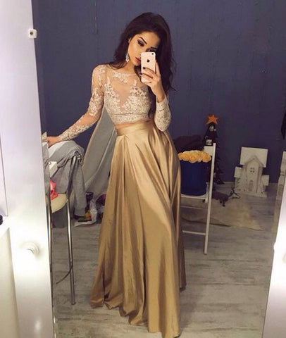 Custom Made A-Line Round Neck Champagne Chiffon Lace Prom Dresses, Lace Evening Dresses