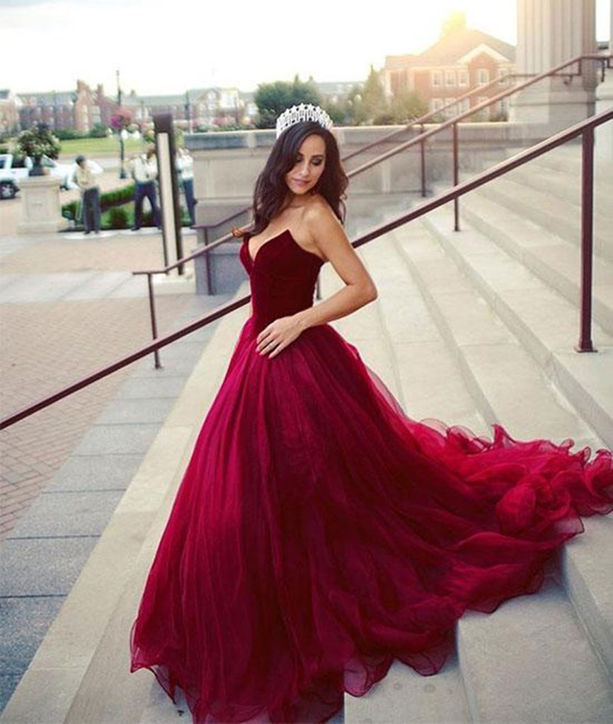 Custom Made A Line Sweetheart Neck Burgundy Long Prom Dresses, Burgundy Long Evening Formal Graduation Dresses