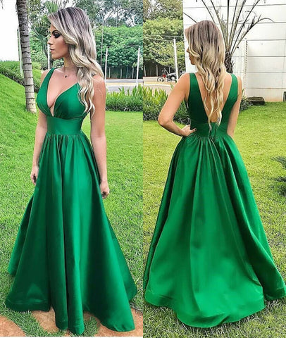 Custom Made A Line V Neck Backless Green Long Prom Dresses, V Neck Green Formal Graduation Evening Dresses