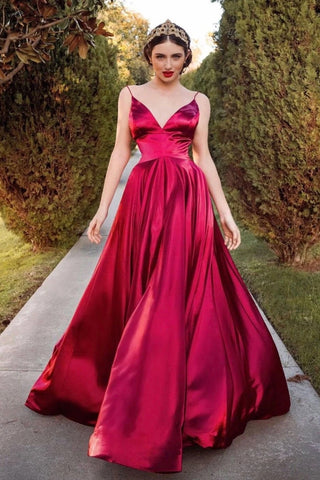Custom Made A Line V Neck Burgundy Long Prom Dress, V Neck Burgundy Formal Graduation Evening Dress