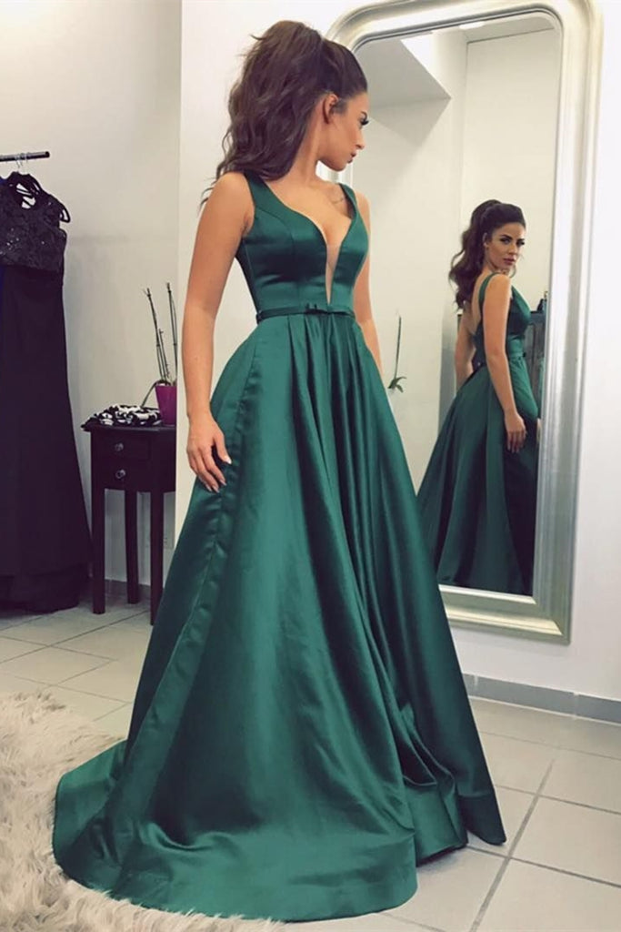 Custom Made A Line V Neck Green Satin Long Prom Dress, V Neck Green Formal Dress, Green Evening Dress