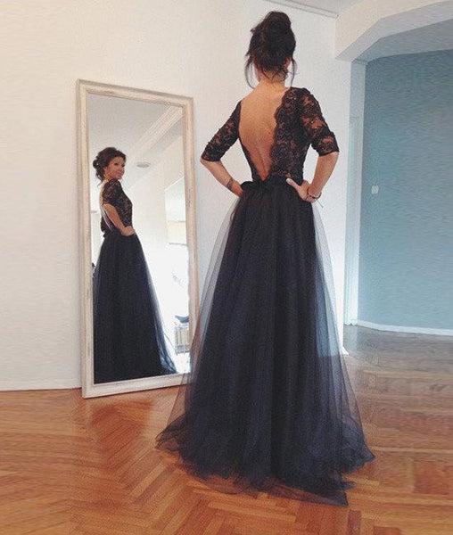 Custom Made Backless Lace Black Prom Dresses, Lace Black Formal Dresses