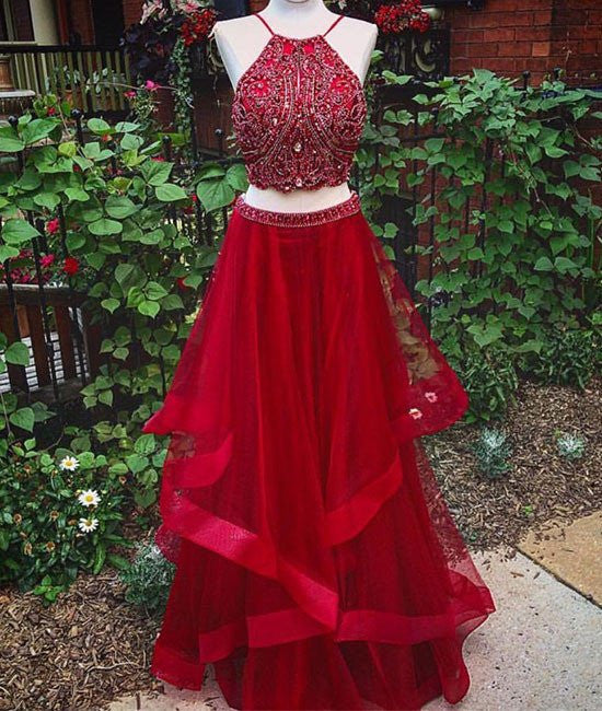 Custom Made Beaded Red Halter Two Piece Prom Dresses ,Formal Dresses