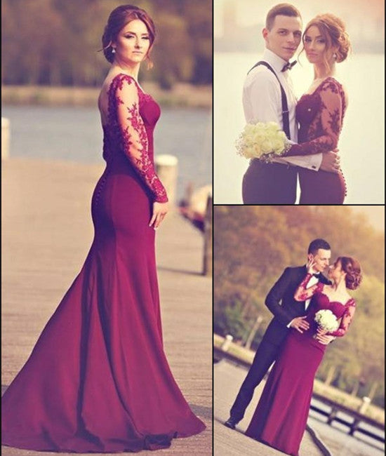 Custom Made Long Maroon Lace Prom Dresses, Maroon Lace Formal ...