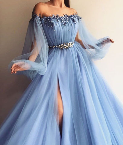 Custom Made Long Sleeves Baby Blue Tulle Long Prom Dress with Slit, Baby Blue Formal Dress, Blue Long Sleeves Evening Dress